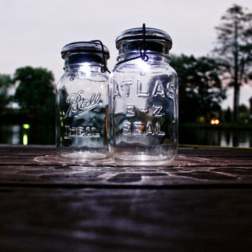 one vintage atlas or ball glass top mason jar .. handmade solar light : quart size clear