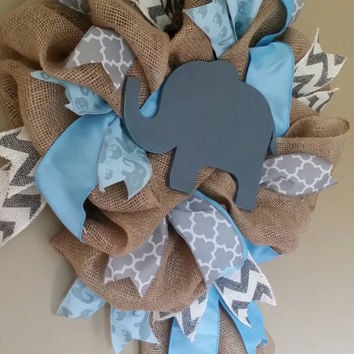 Elephant Nursery Blue Gray Elephant Wreath Elephant Baby Shower Baby Boy Elephant Nursery Decor Gray Milk Paint Elephant Gray Blue  Nursery