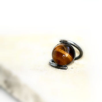 Tigers Eye Sterling Silver Rustic Band, Oxidized Curved Stylish Unique Bold Ring
