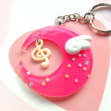 Dark Pink Fairy Kei Moon Keychain With Kawaii Angel Wing and Music Note, Magical Girl Moon Necklace, Mahou Kei Jewelry, Resin Moon Bag Charm
