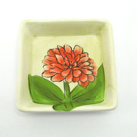 Handpainted ceramic trinket dish ring dish soap dish with fuchsia pink red flower and green leaves