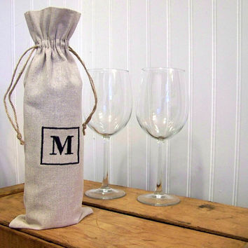 wine gift bag / linen / personalized / wine tote / custom / monogram / monogrammed / natural / hostess gift / wedding / christmas /