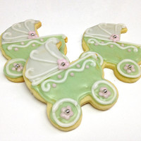 Baby Carriage Sugar Cookies Pram Baby Shower Sage Green Decorated