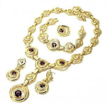 Gold Layered Necklace, Bracelet, Earring and Ring, Spiral Design, with Cubic Zirconia, Golden Tone