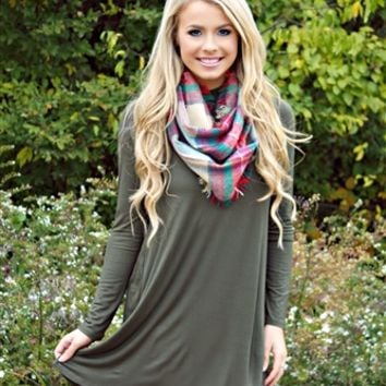 Somewhere Only We Know Dress - Olive