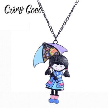 Enamel Necklace Pendant Lovely Doll with Umbrella Necklace Long Chain Fashion Jewelry For Women Girl Accessories Gift Necklace