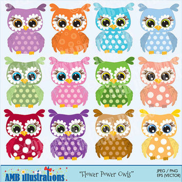 40% OFF Flower Colorful Owls for clipart and card design, vector graphics, digital clipart, instant download AMB-351