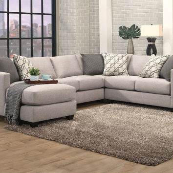 Benchley Orlando 3 pc Orlando granite fabric upholstered sectional sofa with square arms and chaise