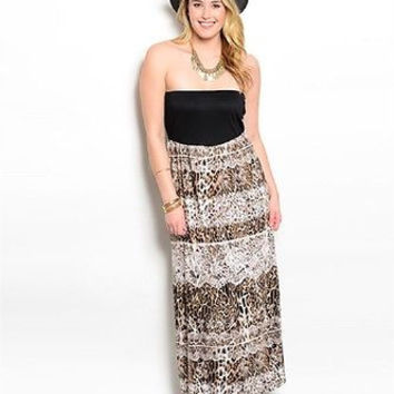Plus Size Strapless Brown and Black Animal Print Maxi Dress Sz 1X