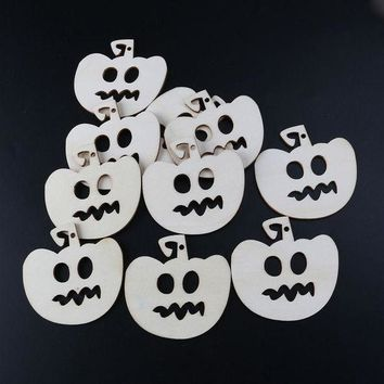 CREYONHS 10pcs Wooden Embellishments Halloween Decoration Bitter Smile Pumpkin Head Pattern Pendant With Hemp Ropes