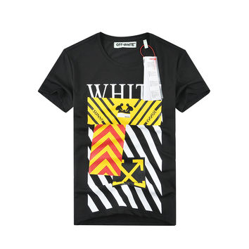 Off White Patchwork Summer Couple Short Sleeve T-shirts [10262358803]