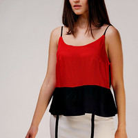 Designer Unique Elegant Red and Black Camisole / Viscose Top / Open Back Top / Slim Straps Top / Relaxed Fit Top