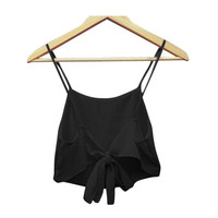 Sexy Chiffon Sleeveless Women Camis Cropped Ladies Spaghetti Strap Crop Tank Top Backless Blouse 2015 Fashion Summer Bralette