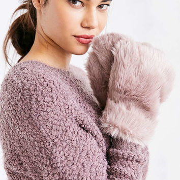 Faux Fur Paw Mittens - Urban Outfitters