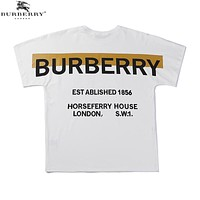 BURBERRY Summer Newest Trending Print Short Sleeve Round Collat T-Shirt Top White