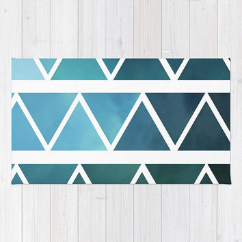 Blue Modern Art Floor Rug - Throw Rug - Unusual Rug - Ombre Blue and White - Made to Order