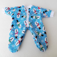 "BITTY BABY PAJAMAS, blue tossed snowmen snowflake pajamas, handmade clothes, for 15"" bitty baby doll"