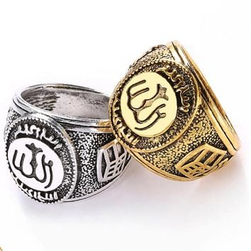 1PC Hot Classics Retro Gold Silver Men Ring Muslim Allah Arabic Shahada Arabic God Messager Persian Plated