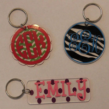 MONOGRAMMED Acrylic Keychains by OwlOutfitters on Etsy