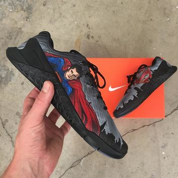 Custom Painted Nike Metcon 3 Superman Theme