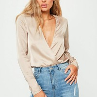 Missguided - Tall Exclusive Brown Deep Plunge Satin Bodysuit