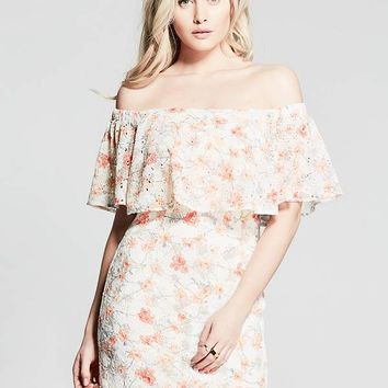 Gorgeous Gardens Off-The-Shoulder Dress at Guess
