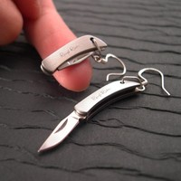 REAL Working Sharp Tiny Folding Knife Earrings by YOUgNeek on Etsy