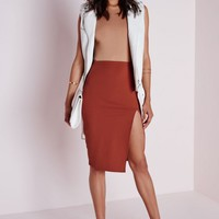 Missguided - Thigh High Split Scuba Midi Skirt Rust