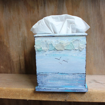 Beach Inspired Seascape Tissue Box Cover , Hand Painted Artistic Home Decor ,Sea Glass Mosaic Art , Beach House  Decoration