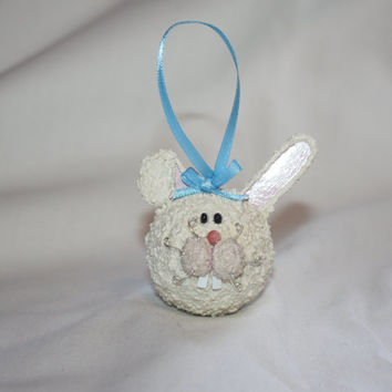 Bunny rabbit Ornament, Easter ornament, Christmas ornament, wooden bunny ornament, Hand crafted with wood, texture and love!!