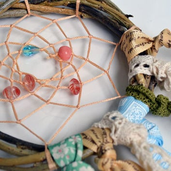 Rustic Small Dreamcatcher, Eco friendly, Nature, Decor, Wall Hanging, Dream Catcher, Home, Hippy