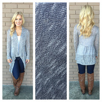 Grey Knit Babydoll Cardigan