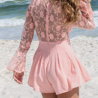 Seeing Rose Blush Lace Romper