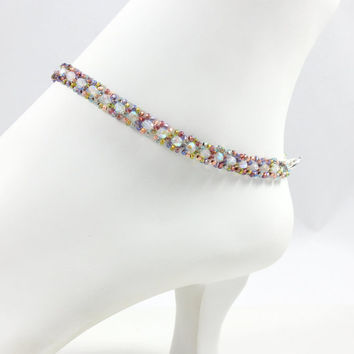 Multicolored Beaded Anklet Seed Bead Jewelry Czech Glass Ankle Bracelet