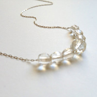 Little Crystal Wedding Necklace - crystals, barely there sterling silver chain - gift for her, wedding, bride, bridal party