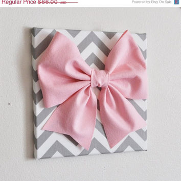 "MOTHERS DAY SALE Set of Two Large Light Pink Bow on Gray and White Chevron 12 x12"" Canvas Wall Art- Baby Nursery Wall Decor- Zig Zag"