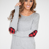 Plaid Patch Top - Heather Grey
