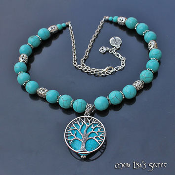 Tree of Life Turquoise Necklace, Heart Turquoise Necklace, Double Sided Necklace, Valentine's Necklace, Turquoise Jewelry, Turquoise Howlite