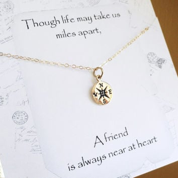Compass necklace, Friendship necklace with message card, compass charm, Bridesmaid gift, best friends gift, graduation gift