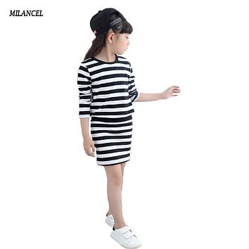 Girl Dress Autumn  Long Sleeve Black & White Stripes Girls Cotton Dress Teenage Dress vestidos Infantis Clothes