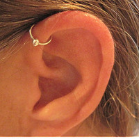 "No Piercing Handmade Ear Cuff Helix Cuff ""Captive Ball"" 1 Cuff Silver Tone or 17 Color Choices"