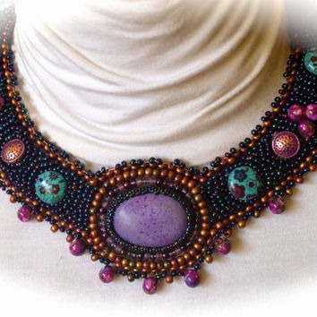 ON SALE Purple, Turquoise, Copper Necklace, Collar, Lampwork Beads, Blue AB Seed Beads