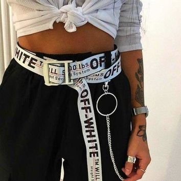 OFF-WHITE Women Men White+Black Word Belt