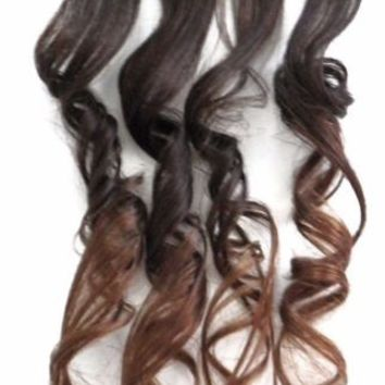 4x Caramel Blonde Brown Ombre Clip in Human Hair Extensions Balayage Highlights
