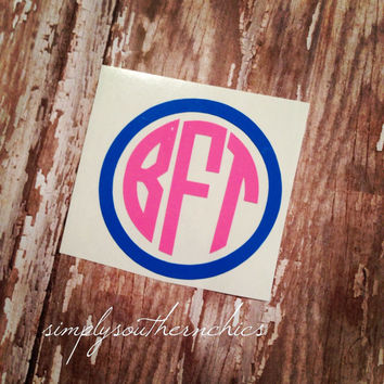 Two Color Circle Monogram - Car, Laptop, iPhone, or Anything Else!!!