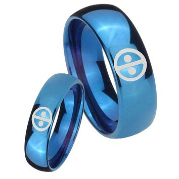 His Hers Mirror Blue Dome Dead Pool Tungsten Carbide Wedding Rings Set