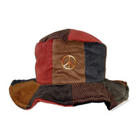 Corduroy Patchwork Peace Sign Floppy Hat on Sale for $16.95 at HippieShop.com