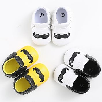 Cartoon Mustache PU Leather Baby Moccasins Soft Soles Non-slip Baby First Walkers Newborn Baby Boys Shoes Infant Girl Crib Shoes