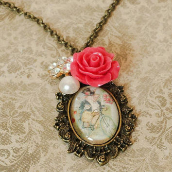 Whimsical pendant necklace, farm animals, pig on a bicycle, rose flower pearl rhinestones artisan jewelry altered art by The Urban Disciple