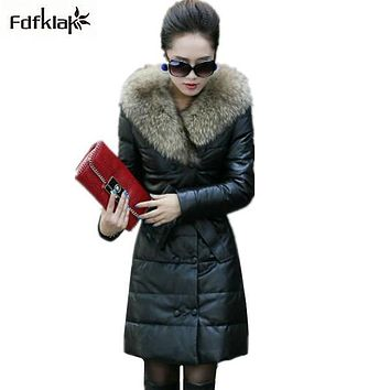 Luxury Big Fur collar women's winter jacket new faux leather coat plus size cotton-padded female long coats parkas S-5XL